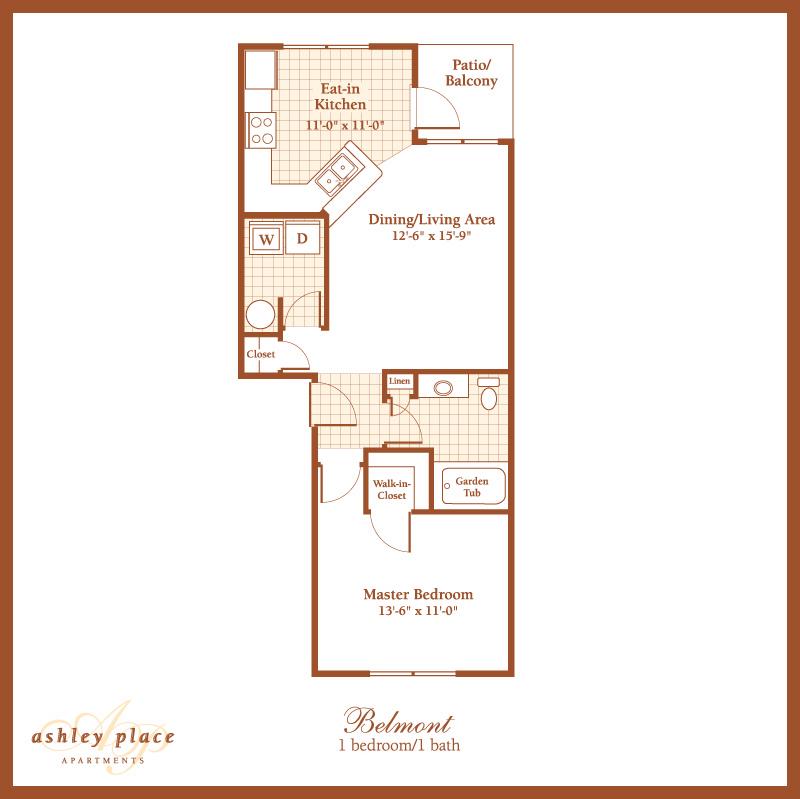 The Ashley 1 Bedroom Apartment Charleston Sc: Belmont 1 Bedroom Floor Plan